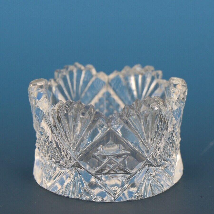 Antique Cut Glass Open Salt Diamond Star Fan