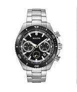 Bulova High Frequency Quartz Chronograph Silver Tone Men's Watch 98B298,45mm NIB - $135.56
