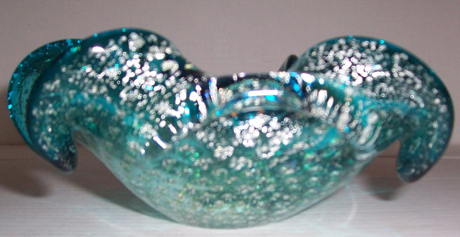 Murano Hand Blown Turquoise Blue Bullicante Stardust Designed Glass Art Display