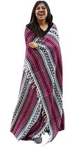 Party Pink Magenta Falsa Mexican Serape Blanket Fuscia Heavy Authentic T... - $29.41 CAD