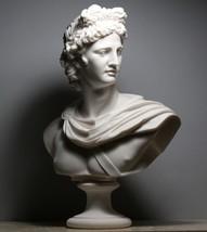 APOLLO Greek Roman God Bust Head Statue Cast Marble Sculpture Handmade 2... - $344.32