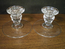 "FOSTORIA AMERICAN PAIR OF 3 1/2"" CANDLE~~~PERFECT - $8.99"