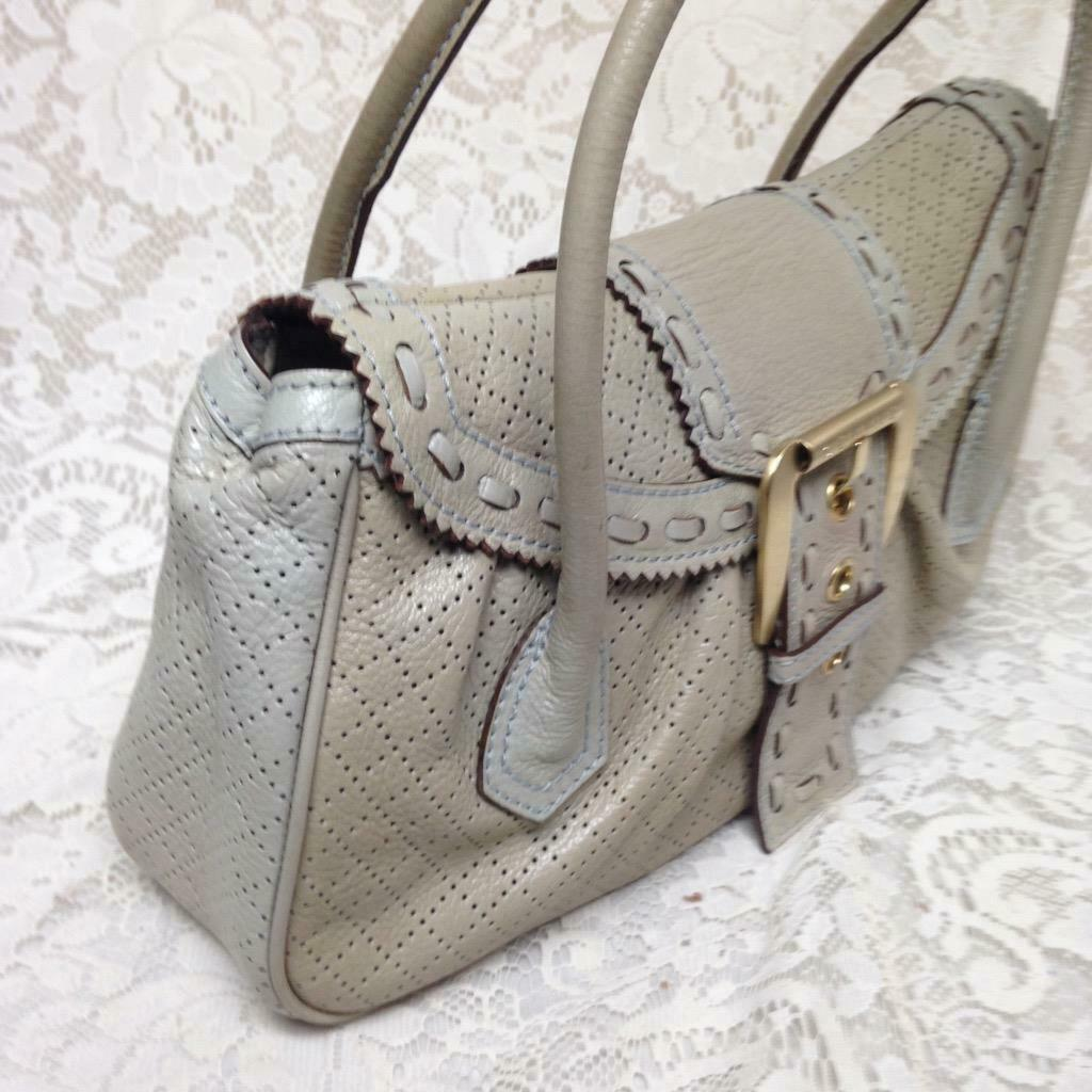 Primary image for Celine, Cream-Beige Pierced Leather Handbag Shoulder Bag 14in x 8in x 3in
