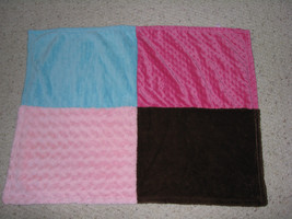 Cuddle Bear Baby Blanket Pink Brown Aqua Teal Blue Minky Swirl Fur Plush Girl - $27.71