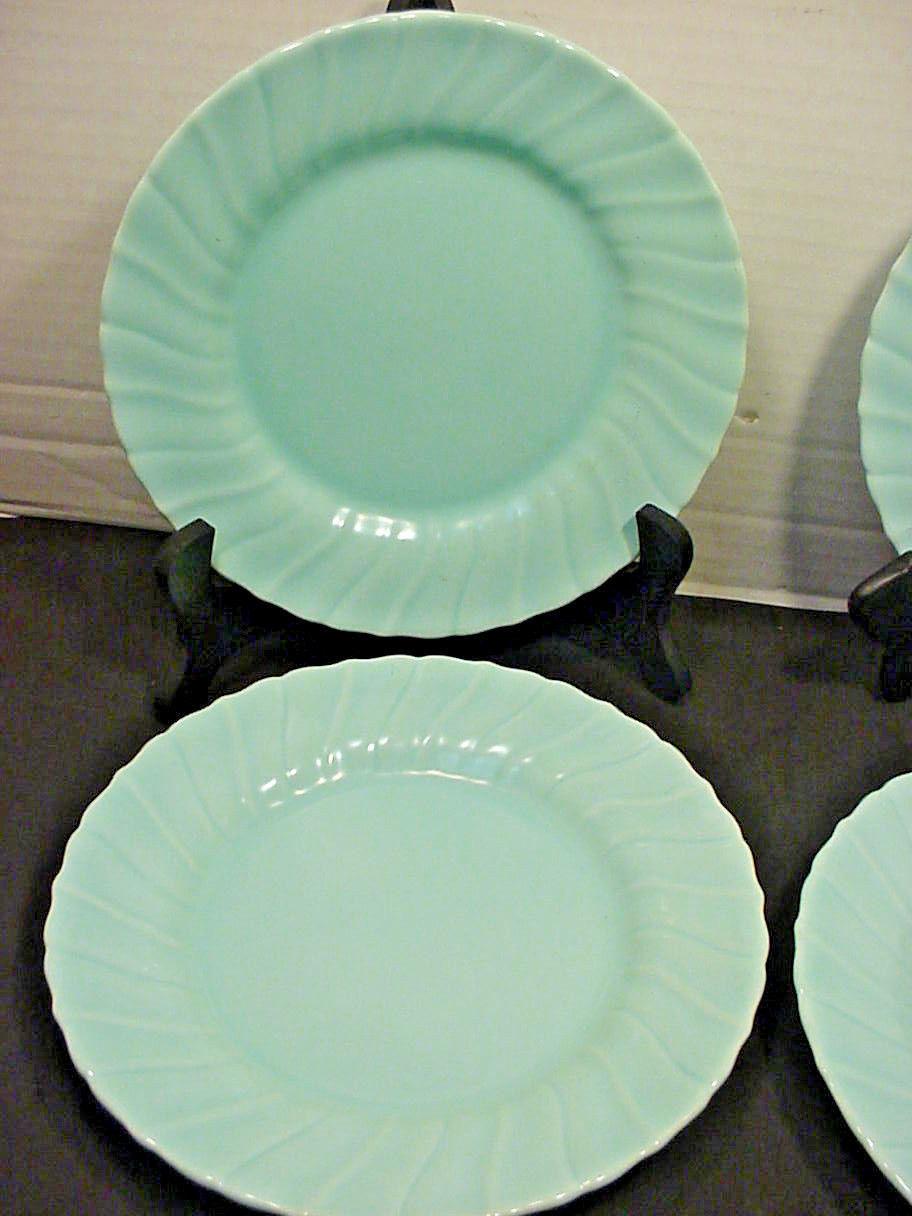 Franciscan Coronado Aqua Matte 4 Salad Plates Blue