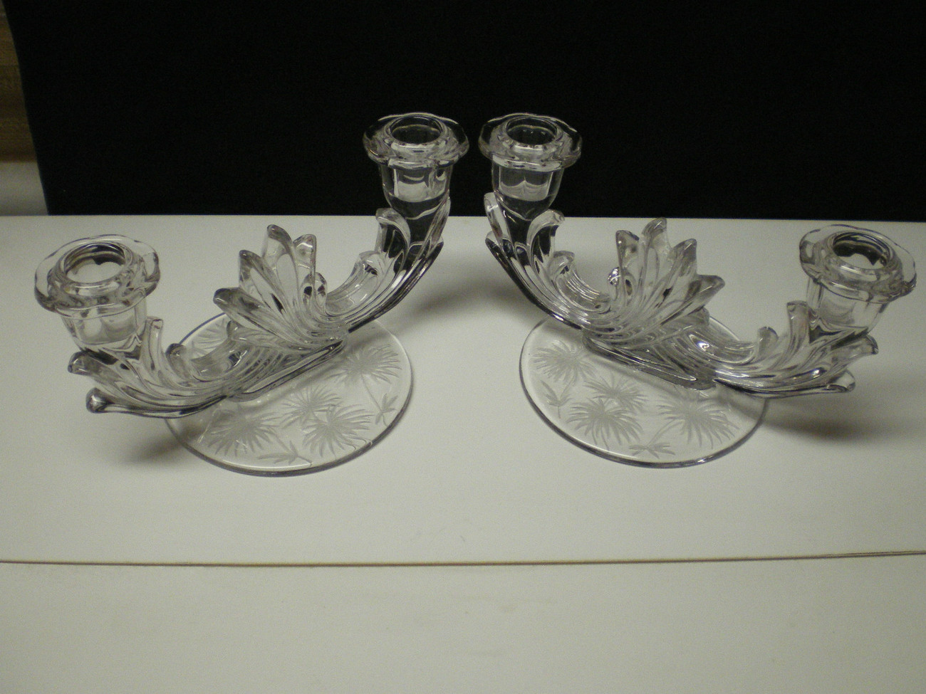 Primary image for FOSTORIA LIDO ETCHED BAROQUE DUO CANDLE PAIR~~~nice ones