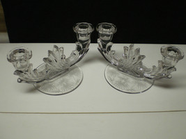 FOSTORIA LIDO ETCHED BAROQUE DUO CANDLE PAIR~~~nice ones - $33.95
