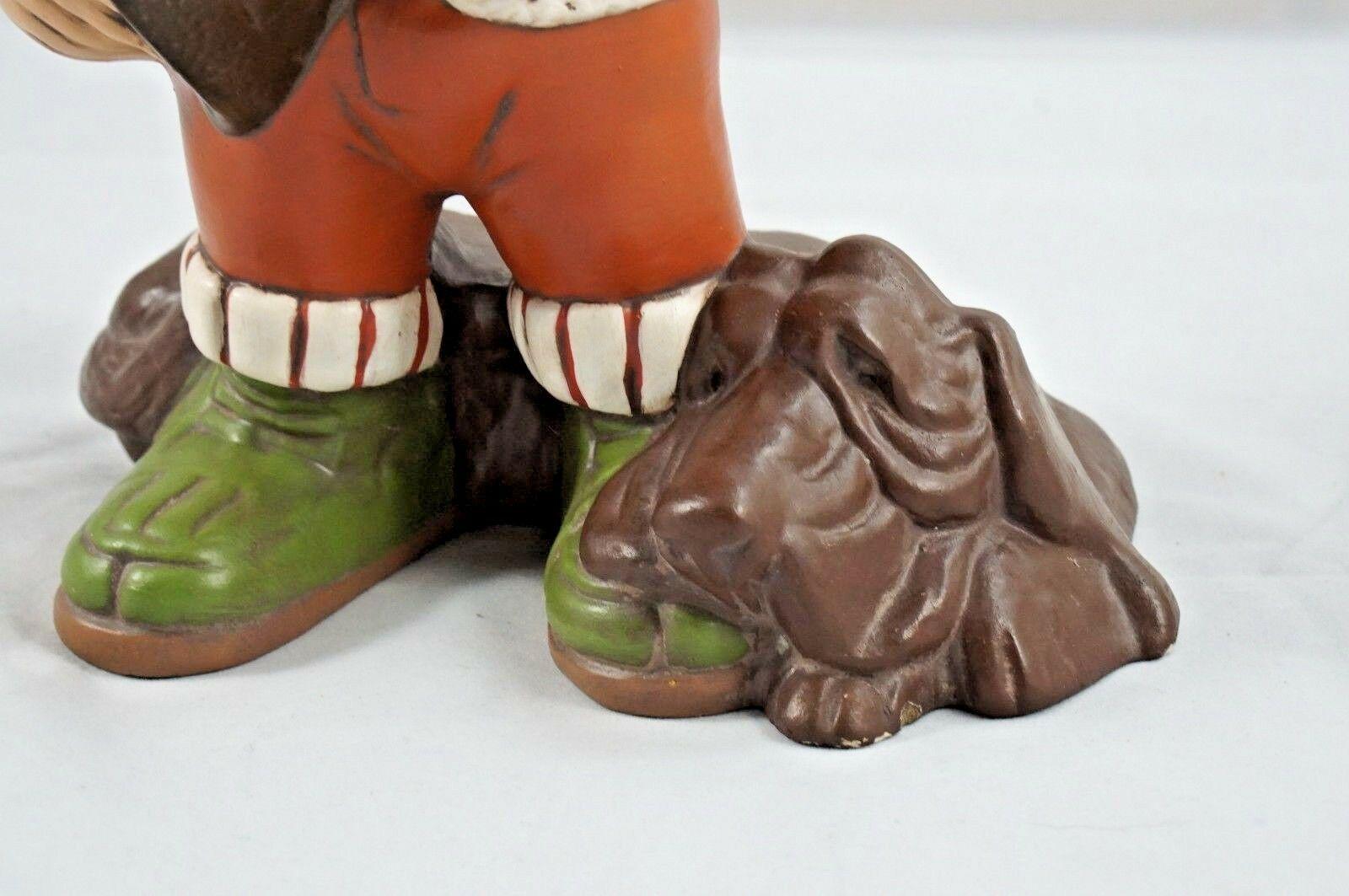 """Vintage Shotgun Hunter Boy """"Ernie"""" W/ Hound Dog Ceramic Hand-Painted '71"""