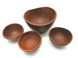 Mid Century Goodwood Teak Wood Salad Serving Bowl Set, 4 Bowls Total - $32.62