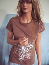 NEW JR LARGE T T-Shirt Pullover BROWN FLoral SWIRL TUNIC PRINT Pullover ... - $9.99
