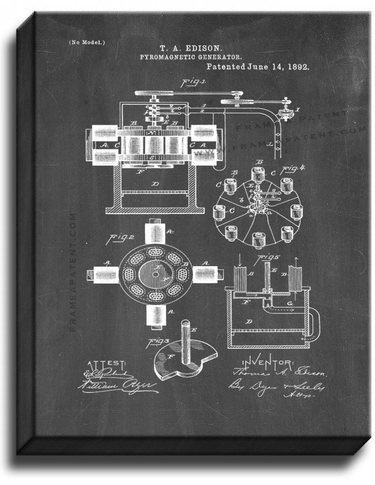 Primary image for Edison Pyromagnetic Generator Patent Print Chalkboard on Canvas