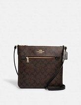 COACH Womens Rowan File Bag In Signature Canvas (Brown/Black)