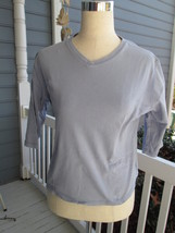 WOOLRICH cotton shirt gray!  Sz S, 3/4 sleeves, V-neck, sturdy & in good... - $6.44