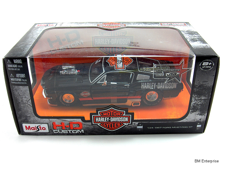 Primary image for 1967 Ford Mustang GT 1:24 Scale Diecast Harley Davidson Custom