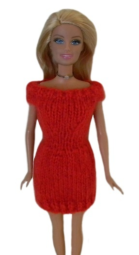Barbie Doll Clothes Knit Mohair Red Sweater Dress Handmade