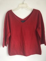 VTG Ann Taylor red v-neck cashmere sweater women's size large - $29.70