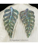 Multicolor PAUA ABALONE SHELL Iridescent Fern Leaves Earring PAIR 3.35 g - $38.32