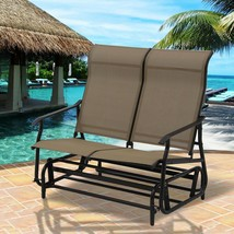 Dark Beige 2 Person Patio Glider Sofa Bench Seating Deck Porch Outdoor F... - $138.10
