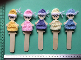 Bookmark puppet Cute Doll Bookmark Unique lady gift  hand made stocking ... - $6.05