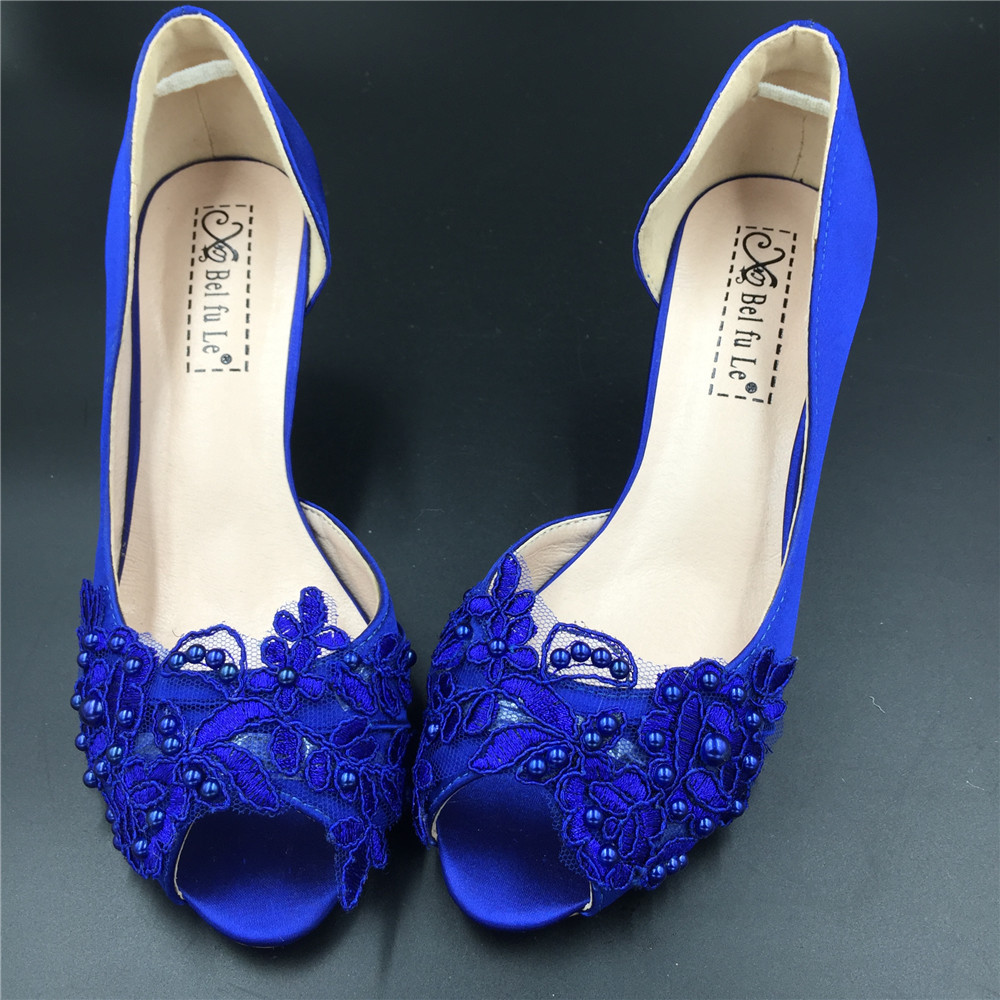 Primary image for Blue Bridesmaids Shoes,Blue Satin Bridesmaids Low Heels Shoes,Cobalt Heels Shoes