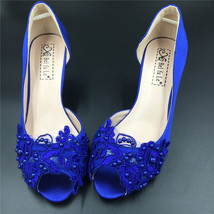 Blue Bridesmaids Shoes,Blue Satin Bridesmaids Low Heels Shoes,Cobalt Hee... - $48.00