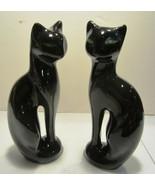 Vintage  Siamese Black Cats  Figurines Green Eyes  Brazil set of 2 - $23.70