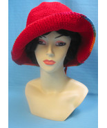 Handmade Crochet Fun Sun Hat Dog Paw Print Shades of Red - $27.00