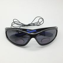 WrapAround Sunglasses +2.00 Bifocal Reading Glasses with Cord Black Devil Frame image 4