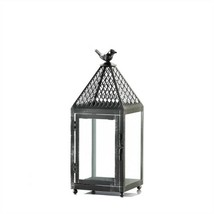 Bird Finial Topped Black Iron Candle Lantern Medium - $15.77