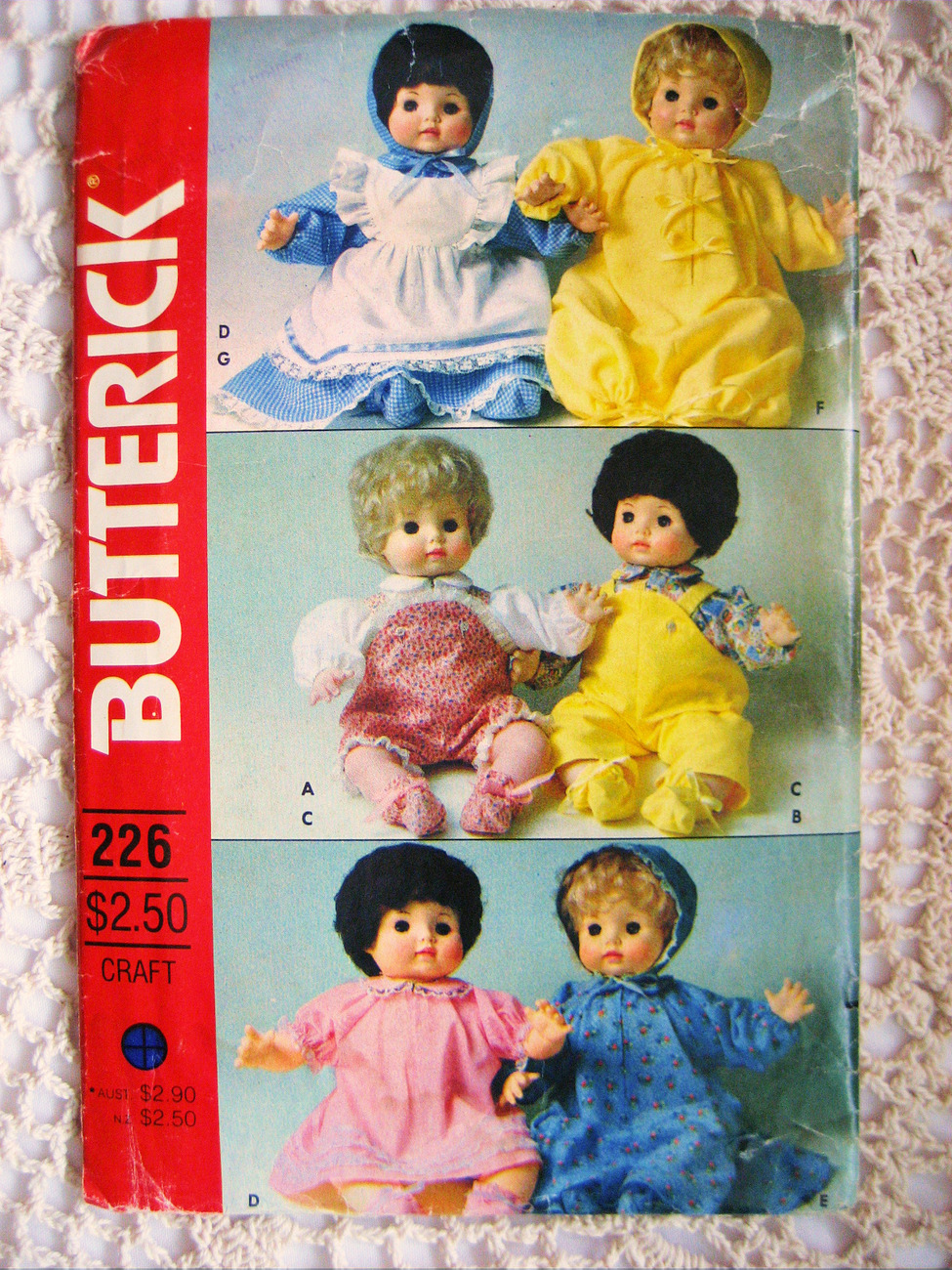 Butterick 226 Unused Baby Doll Clothes Pattern 16 Inch Layette Dress Vintage