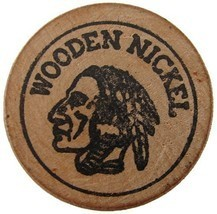 US 1970's WOODEN NICKEL JULY 4th 200 YEARS TOKEN COIN - $4.99