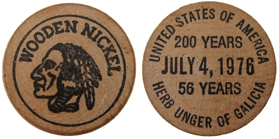 US 1970's WOODEN NICKEL JULY 4th 200 YEARS TOKEN COIN