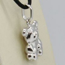 18K WHITE GOLD ROUNDED TEDDY BEAR PENDANT CHARM 22 MM SMOOTH & SATIN ITALY MADE image 3