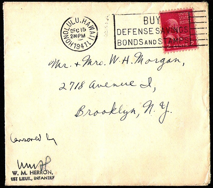 US BROOKLYN N.Y. WWII 1941 MILITARY INFANTRY CENSORED COVER