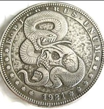 New Hobo Nickel 1921 Morgan Dollar Viper Snake Eating Skull Skeleton Cas... - $11.39