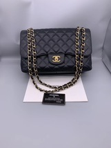 AUTHENTIC CHANEL BLACK QUILTED LAMBSKIN JUMBO CLASSIC DOUBLE FLAP BAG GHW