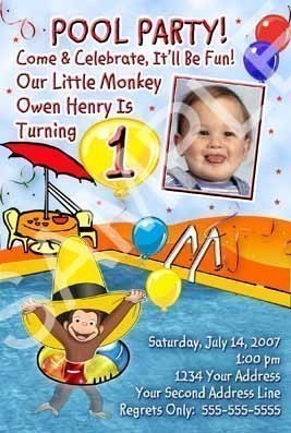 Curious George Swimming Pool Birthday Party Invitation