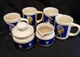 Morton salt 7 piece coffee set. Yellowing on some handles - $28.01