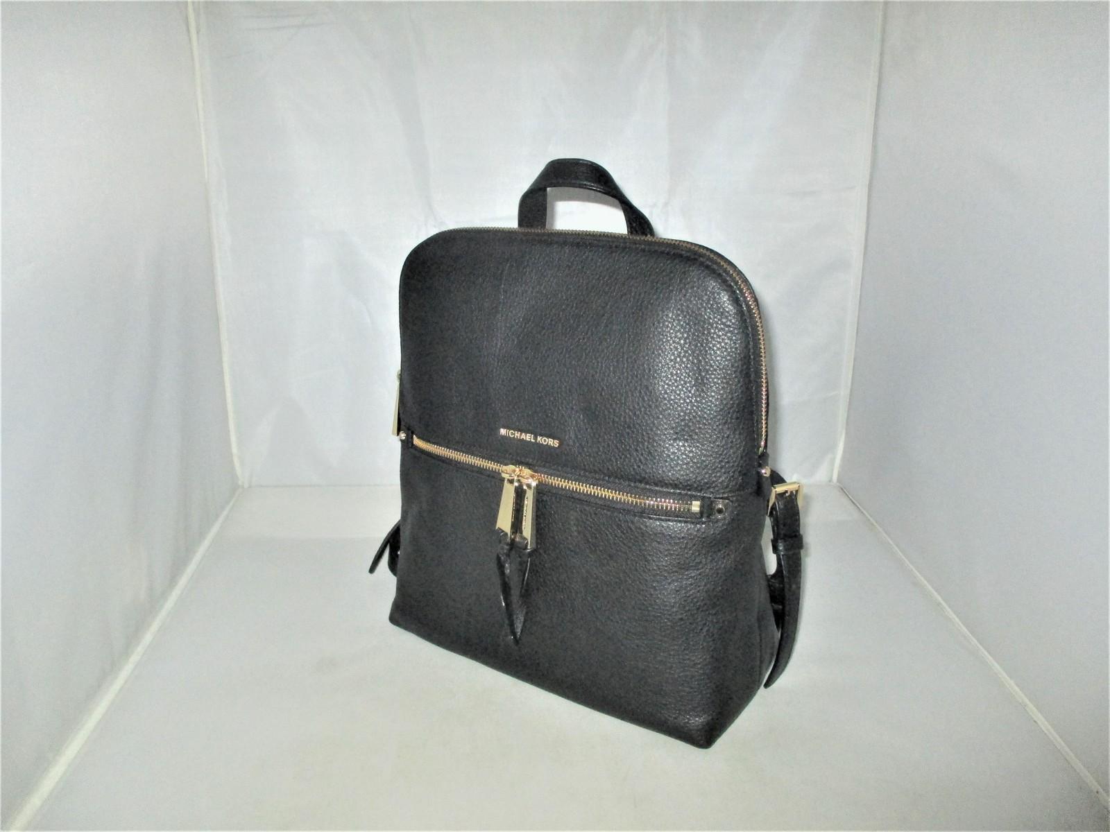 7204aa6870f6 Michael Kors Rhea Medium Slim Pebble Leather Backpack, Book Bag $258 Black