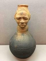 Signed Pottery Vase Figure Made In Kenya Myanmar Woman Head Unique - $158.40