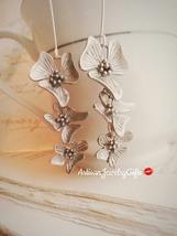 Matte Silver Orchid Earrings Orchid Trio Earrings Silver Orchid Flower E... - $48.00