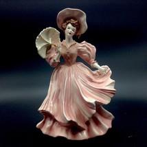 Florence Ceramic of Pasadena California Amber Pink Dress Parasol Victori... - $92.15
