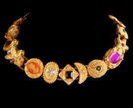 Vintage Victorian slide bracelet -fly insect cameo rhinestone slides / E... - $110.00