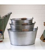 Country new set 3 antiqued brush tin Oval Buckets w/handles - €93,52 EUR