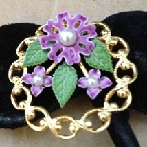 Vintage Gold Fill Purple Enamel Flowers Faux Pearls Circle Scarf Pin Brooch-50s! - $30.51