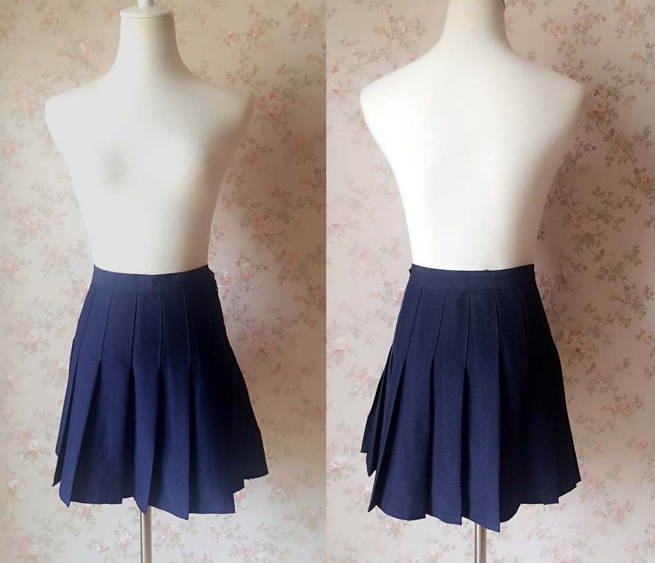NAVY BLUE Girl School Skirt Tennis Skirt Navy High Waisted Pleated School Skirt