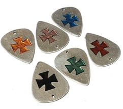 "Cross Guitar Pick Fine Pewter Cast Charm - 1 3/8"" tall     (T226) image 1"