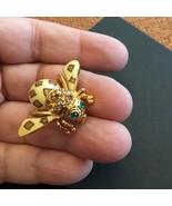Joan Rivers Leopard Brown/Cream Enamel & Rhinestone Bee Pin Brooch - $58.64