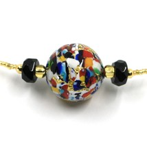 NECKLACE MACULATE MULTI COLOR MURANO GLASS BIG SPHERE, GOLD LEAF, ITALY MADE image 2