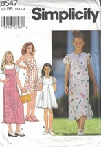 Simplicity Girls Summer Pullover Dress Flared Skirt Keyhole Back #8547 S... - $5.93